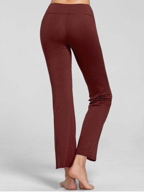 sale Stretch Bootcut Yoga Pants with Pocket - CLARET XL Mobile