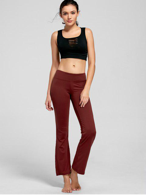 affordable Stretch Bootcut Yoga Pants with Pocket - CLARET L Mobile