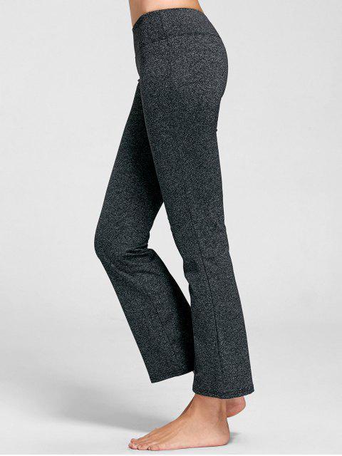 women Marled Bell Bottom Yoga Pants - DEEP GRAY XL Mobile