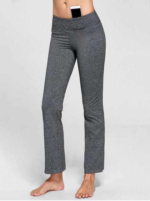 buy Marled Bell Bottom Yoga Pants - GRAY L Mobile