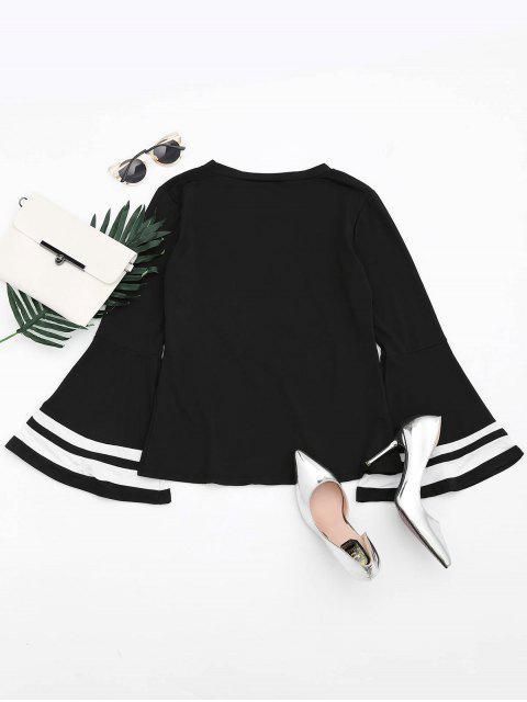 buy Drop Shoulder Contrast Flare Sleeve Tee - BLACK M Mobile