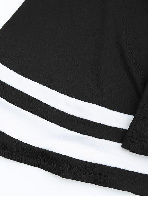 womens Drop Shoulder Contrast Flare Sleeve Tee - BLACK L Mobile