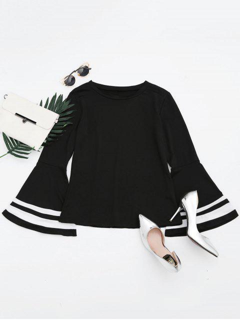 T-shirt Manches Évasées Contrastré Épaule Tombante - Noir L Mobile