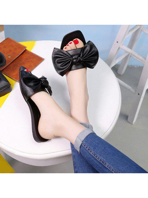 women's Flat Heel Faux Leather Bowknot Slippers - BLACK 38 Mobile
