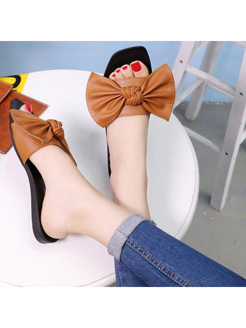 online Flat Heel Faux Leather Bowknot Slippers - BROWN 38 Mobile
