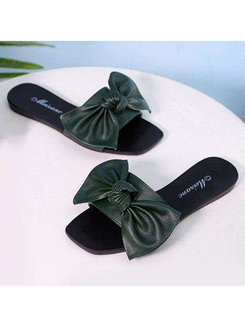 outfit Flat Heel Faux Leather Bowknot Slippers - BLACKISH GREEN 38 Mobile