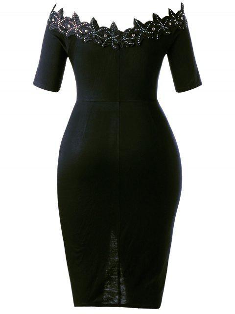 Robe à cravate ajustable en taille Plus - Noir 3XL Mobile