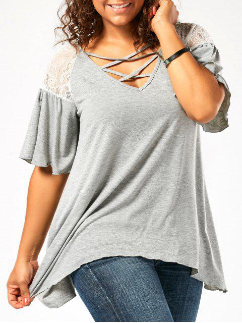 Übergröße Tunika T-Shirt mit Fall Schulter und Verband - Hellgrau 4XL Mobile