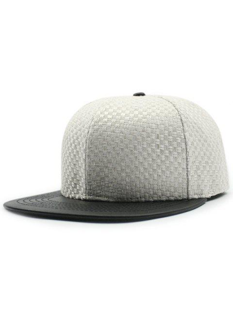 trendy Tiny Plaid Flat Brim Spliced Baseball Hat - WHITE  Mobile