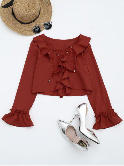 outfits Lace Up Ruffle Hem Crop Blouse - VERMILION M Mobile