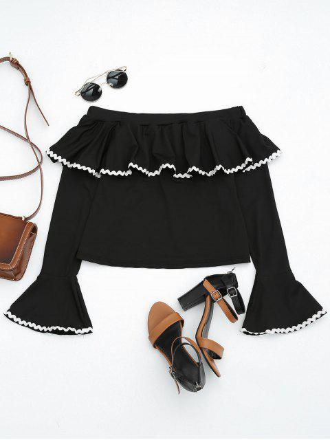 outfit Off The Shoulder Flare Sleeve Flounce Tee - BLACK L Mobile
