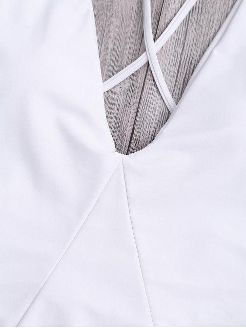 Traje de Baño de Una Pieza con Espalda Cruzada - Blanco S Mobile
