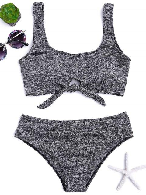 unique Heathered Front Tied Bikini Set - GRAY L Mobile