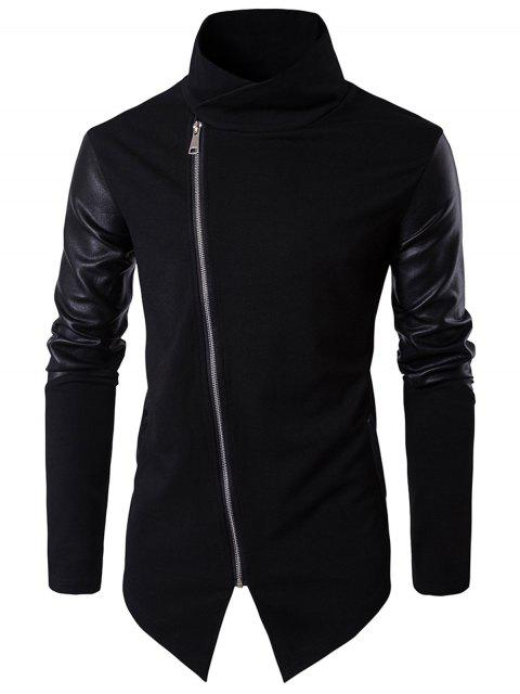 shop Faux Leather Insert Pullover Top Men Clothes - BLACK 2XL Mobile