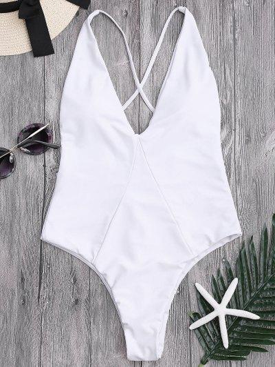One-piece High Cut Cross Back Swimwear - White S