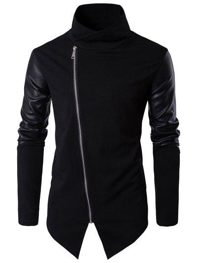 Faux Leather Insert Pullover Top Men Clothes - Black M