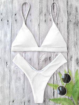 Plunge Padded Textured High Cut Bikini Set - White S