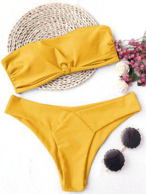Knot Padded Bandeau Bikini Set - Yellow S
