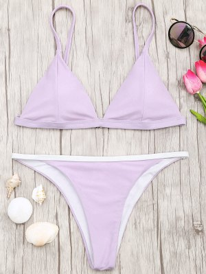 Soft Pad Bikini Top Et Tanga Bottoms - Pourpre L