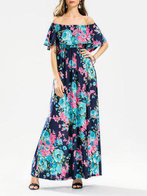 Flounce Off El Hombro Floral Maxi Vestido - Floral M