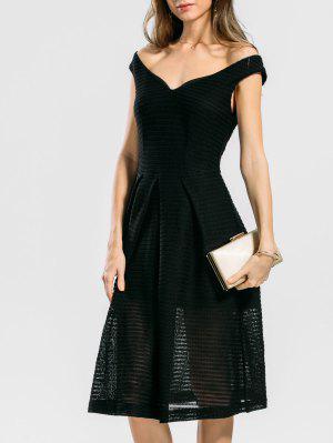 Vestido De Encaje Con Pliegues - Negro L