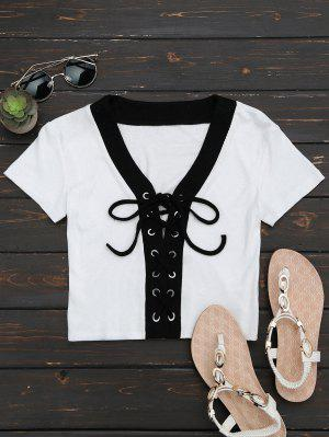 Lace Up Knitted Crop Top - White S