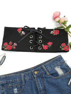 Floral Patched Lace Up Bandeau Top - Black M