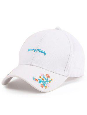 Lettres Fleurs Broderie Baseball Hat - Blanc