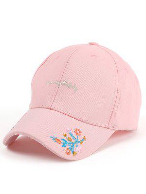 Lettres Fleurs Broderie Baseball Hat - Rose PÂle