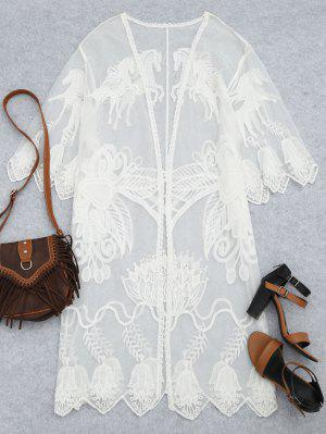 Sheer Lace Beach Kimono Cover Up