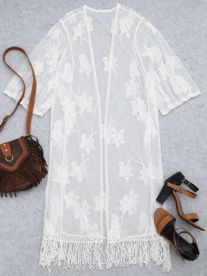 Sheer Lace bordado Kimono playa cubrir