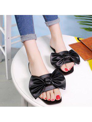 Flat Heel Faux Leather Bowknot Slippers - Black 39