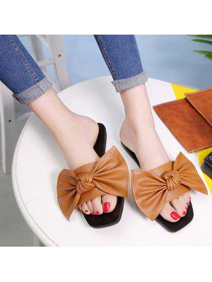 Flat Heel Faux Leather Bowknot Slippers - Brown 37