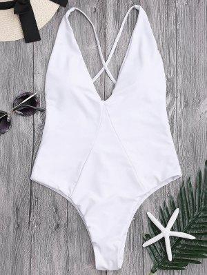 High Cut Cross Back Swimwear - White M