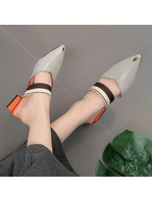 Block Heel Pointed Toe Mules Shoes