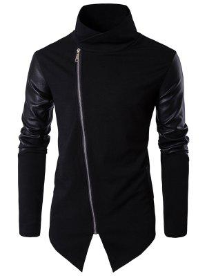 Asimétrico Zip Faux Leather Panel Pullover Top Asymmetric Hoodie