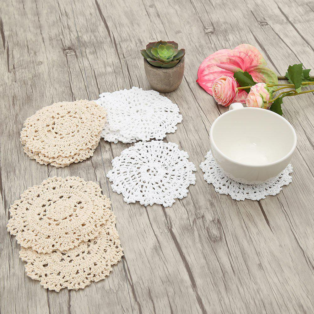 10 PCS Round Shaped Handmade Floral Crochet Doilies 217977501