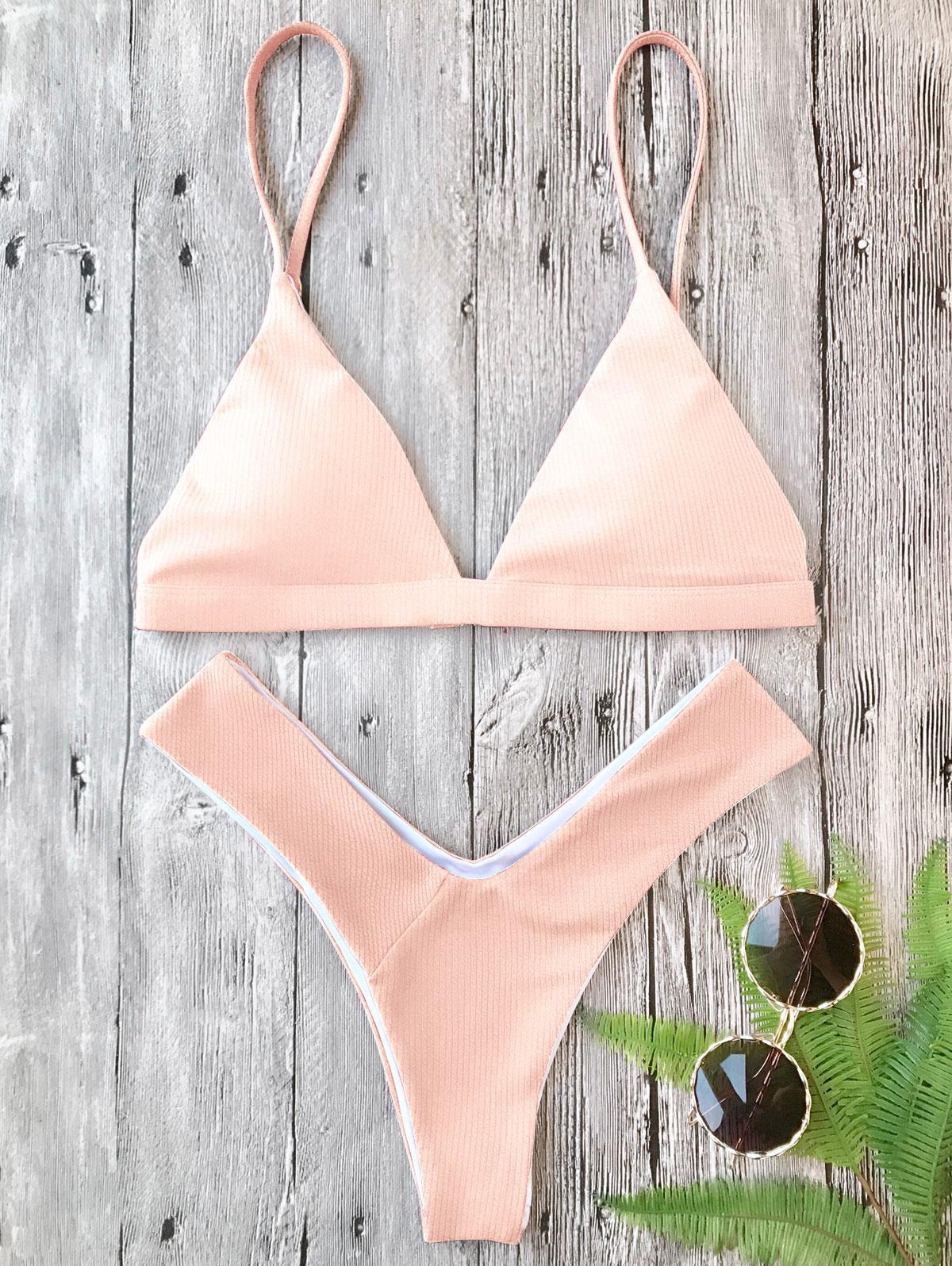 Plunge Padded Textured High Cut Bikini Set