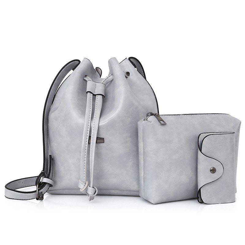 3 Pieces Faux Leather Bucket Bag Set