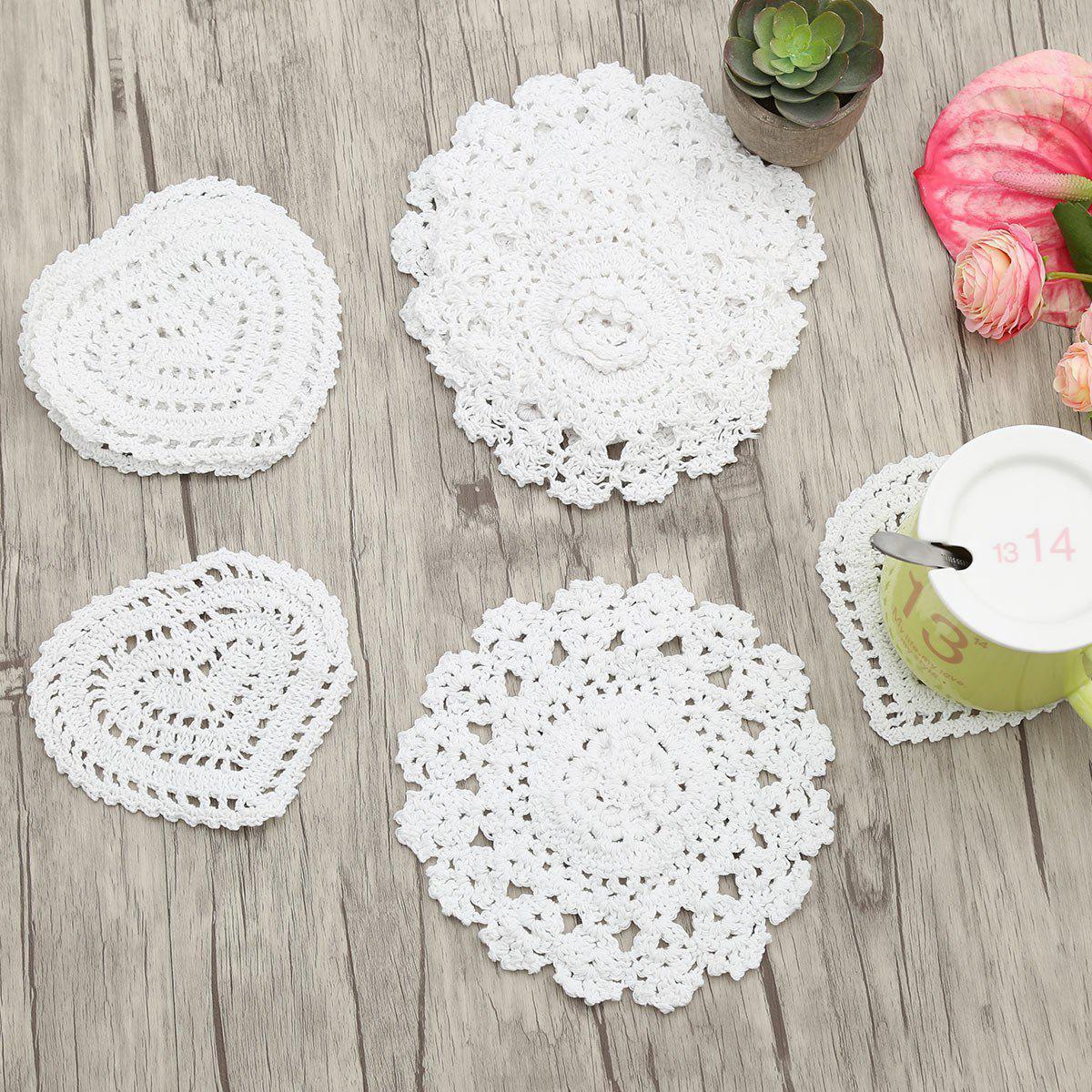 10pcs Handmade Round Heart Shape Crochet Lace Doilies 217974501