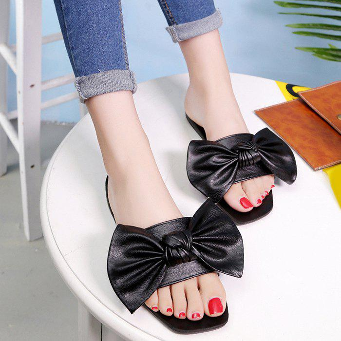 Flat Heel Faux Leather Bowknot Slippers 218380001