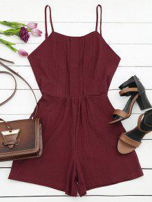 Side Pockets Cami Romper - Wine Red S