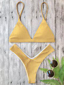 Plunge Padded Textured High Cut Bikini Set - Ginger S