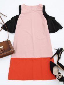 Color Block Cold Shoulder Shift Dress - Pink M