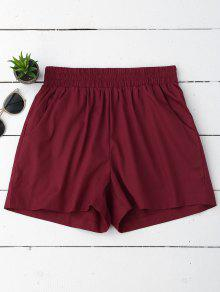 Casual High Waisted Shorts - Wine Red S