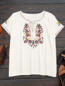 Tassel Embroidered Tie Neck Tee - White S