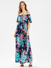0b30c6ec4b07 28% OFF  2019 Flounce Off The Shoulder Floral Maxi Dress In FLORAL ...
