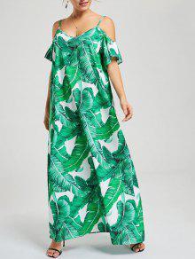 اللباس الاستوائية ورقة طباعة السباغيتي حزام اللباس - أخضر Xl