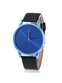 ساعة شريطها بجلد اصطناعي  - الأزرق والأسود