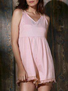 Tassels Backless Spaghetti Straps Playsuit - Pink L